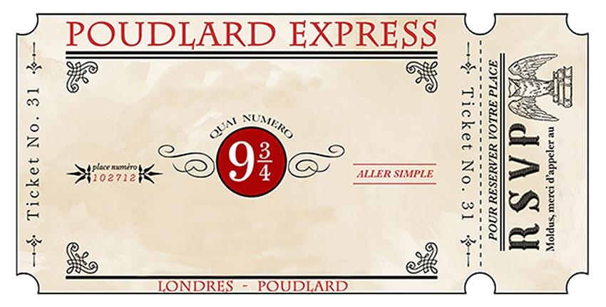 Ticket invitation voie 9 3/4 anniversaire Harry Potter ...